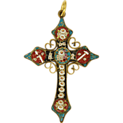 SOLD Victorian Italian Micro-Mosaic Cross Pendant