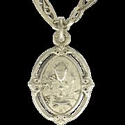 French Victorian Decorative Silver Chain and Communion Pendant