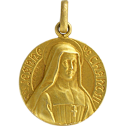 French Gold Filled Medal or Charm - St Jeanne de Chantal - CHARL