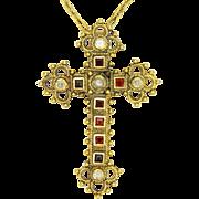 Renaissance Revival Silver Gilt Gemstone Cross Necklace
