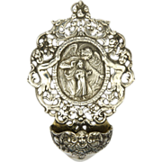 Antique Spanish Silver Guardian Angel Holy Water Font
