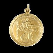 English 9K Gold St Christopher Medal Pendant
