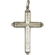 Victorian Sterling Silver Engraved Cross - Fringed Ends