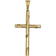 French 18K Gold Filled Engraved Cross