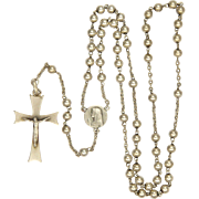 French Art Deco Silver Rosary - First Communion