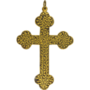 SALE Victorian Gold Leaf Inlaid Gothic Style Cross