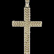 SALE English 1973 Large Sterling Silver Laurel Leaf Engraved Cross