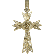SALE Victorian Silver Filigree Flowers Large Cross Pendant