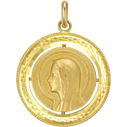 French 1973 Virgin Mary Lourdes 18K Gold Filled or Plated Medallion Pendant