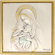 Italian Virgin Mary  and Child Jesus with Cherub Standing Plaque