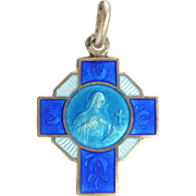 French Art Deco Silver Enamel Saint Thérèse  Pendant or Charm