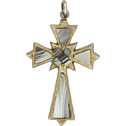 Antique Scottish Agate on Sterling Silver Cross Pendant
