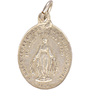 French Circa 1880 Small Silver Miraculous Medal