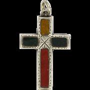 Victorian Scottish Silver and Agate Small Cross Pendant