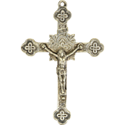 French 19C Silver Plated Pectoral Crucifix
