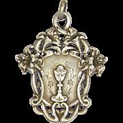 French Art Nouveau Silver Lilies Communion Medal/Pendant