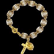 Cystal Quartz First Communion Bracelet - Gold Filled Charms