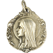 French Silver Double Sided Virgin Mary Lourdes Medal Charm