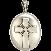 Victorian Sterling Silver Celtic Cross Locket