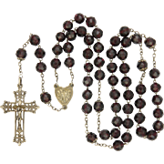 French Victorian Garnet Glass and Silver Rosary - Fleur de Lis Crucifix