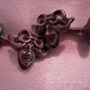 Antique Art Nouveau Dimensional Silver Lady Face Cufflinks
