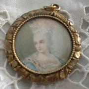 SALE Petite Antique Hand Painted Charm Portrait
