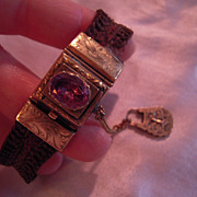 SALE Early Victorian Foiled Back Amethyst and 14k Gold Hair work Bracelet