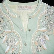 Gorgeous Vintage Ballantyne 1950s Light Green Cashmere Beaded Sweater