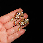 SALE Robert's Original Vintage Faux seed Pearl and Rhinestone Dangly Earrings