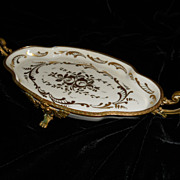 Limoges Hand Painted Porcelain Dish with Ornate Bronze Dore Mounts
