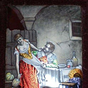 """Antique French Limoges """"Naughty"""" Bar Maid Enamel on Copper Painting"""