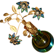 SALE Vintage Murano Somerso Jeweled Flower Perfume Bottle