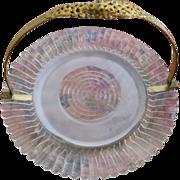 Sweet Vintage Ormolu Fold Down Handle Serving Plate