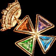 Vintage Accessocraft Multi-colored Glass Cross Pendant