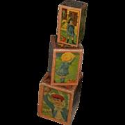 SALE Very Rare Victorian PINK Children's Lithograph Nesting Blocks