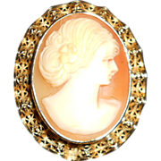 Vintage Sorrento Hand Caved Cameo in Filigree GF Setting Pin