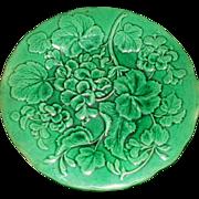 Victorian Majolica Green Glazed Plate