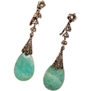 Art Deco Sterling and Chrysoprase Drop Marcasite Earrings
