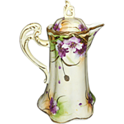 Beautiful Nippon Hand Painted Purple Flowers and Raised Gold Trim Chocolate Pot