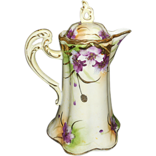 Beautiful Nippon Hand Painted Purple Flowers and Raised Gold Trim Chocolate Pot