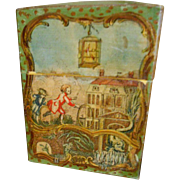 SALE Antique French Childrens Lithograph & Hand Painted Card Box - Exceptionally Charming Imag