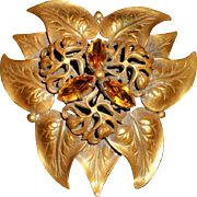 Joseff of Hollywood Early Fabulous Large Russian Gold & Amber Brooch