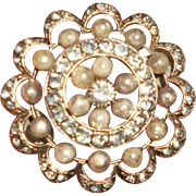 Victorian Sterling Paste and Natural Pearls Target Brooch