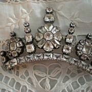 SALE Superlative Georgian Black Dot Rock Crystal and Silver Brooch