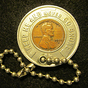 """Wheat Penny """"KEEP ME AND NEVER GO BROKE"""" Key Ring"""