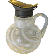 Hobbs/Northwood Coin Spot/Dot Opalescent Swirl Syrup Pitcher