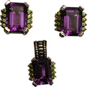 SALE Stunning Lagos Amethyst Earrings & Pendant 18K and Sterling **February Birthstone**