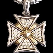 SALE Lagos Diamond Maltese Cross Pendant 18K and Sterling