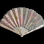 Antique French Art Nouveau Pink Chrysanthemum Fan Signed TUTIN  C.1900 -1910