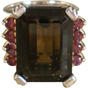 SALE Lagos Caviar Smokey Quartz and Pink Tourmaline Ring Glacier Cocktail Collection